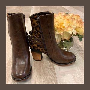 Pierre Dumas Leopard & Vegan Leather Booties